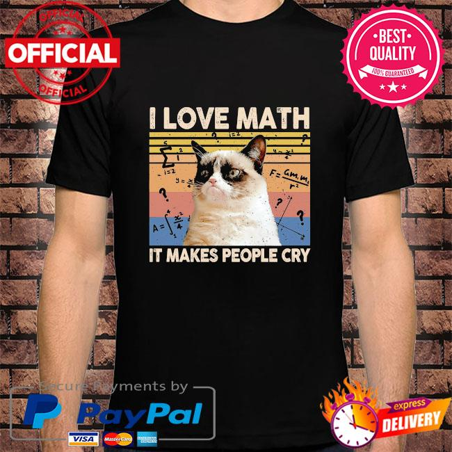Cat I love math it makes people cry vintage shirt