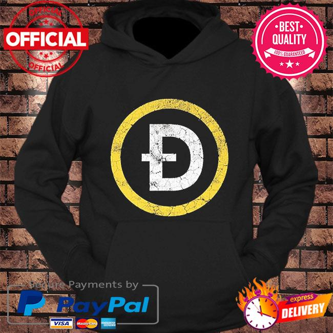 Dogecoin doge crypto distressed logo s hoodie Black