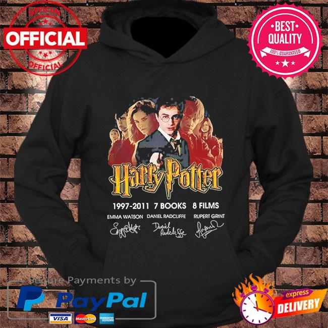 Harry potter 1997-2011 7 books 8 films signatures s hoodie Black