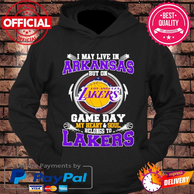 I may live in ArKansas but on game day my heart and soul belongs to lakers s hoodie Black