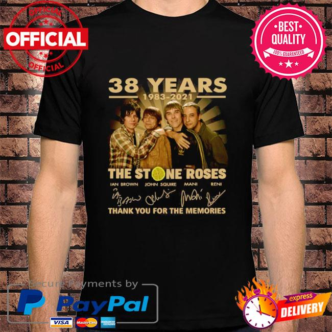 Official 38 years The Stone Roses thank you for the memories signatures shirt