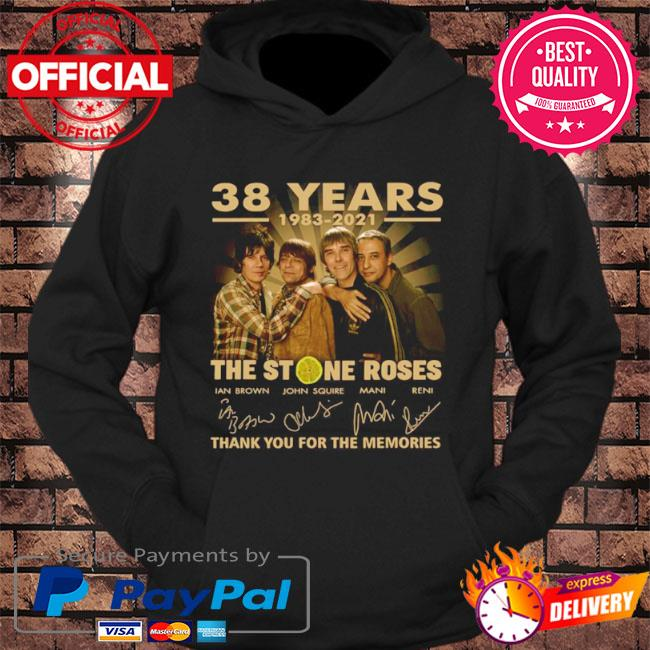 Official 38 years The Stone Roses thank you for the memories signatures s hoodie Black