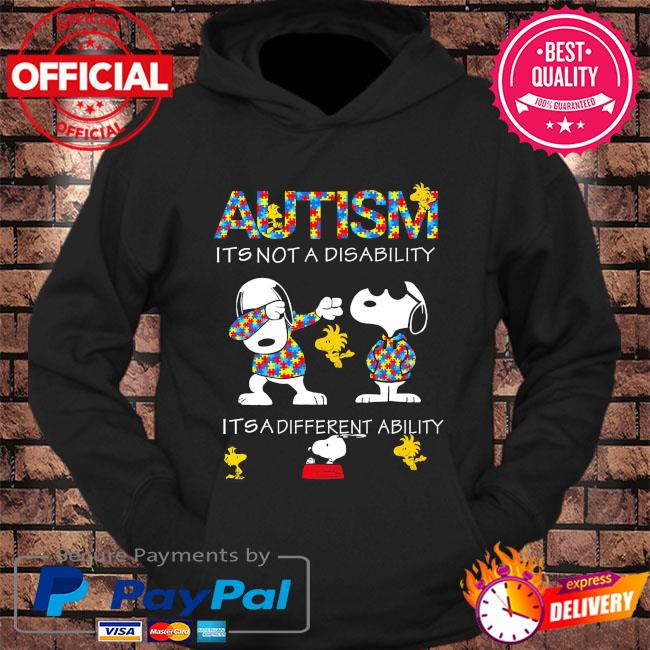 Dabbing Snoopy Autism it's not a disability it's a different ability s hoodie Black