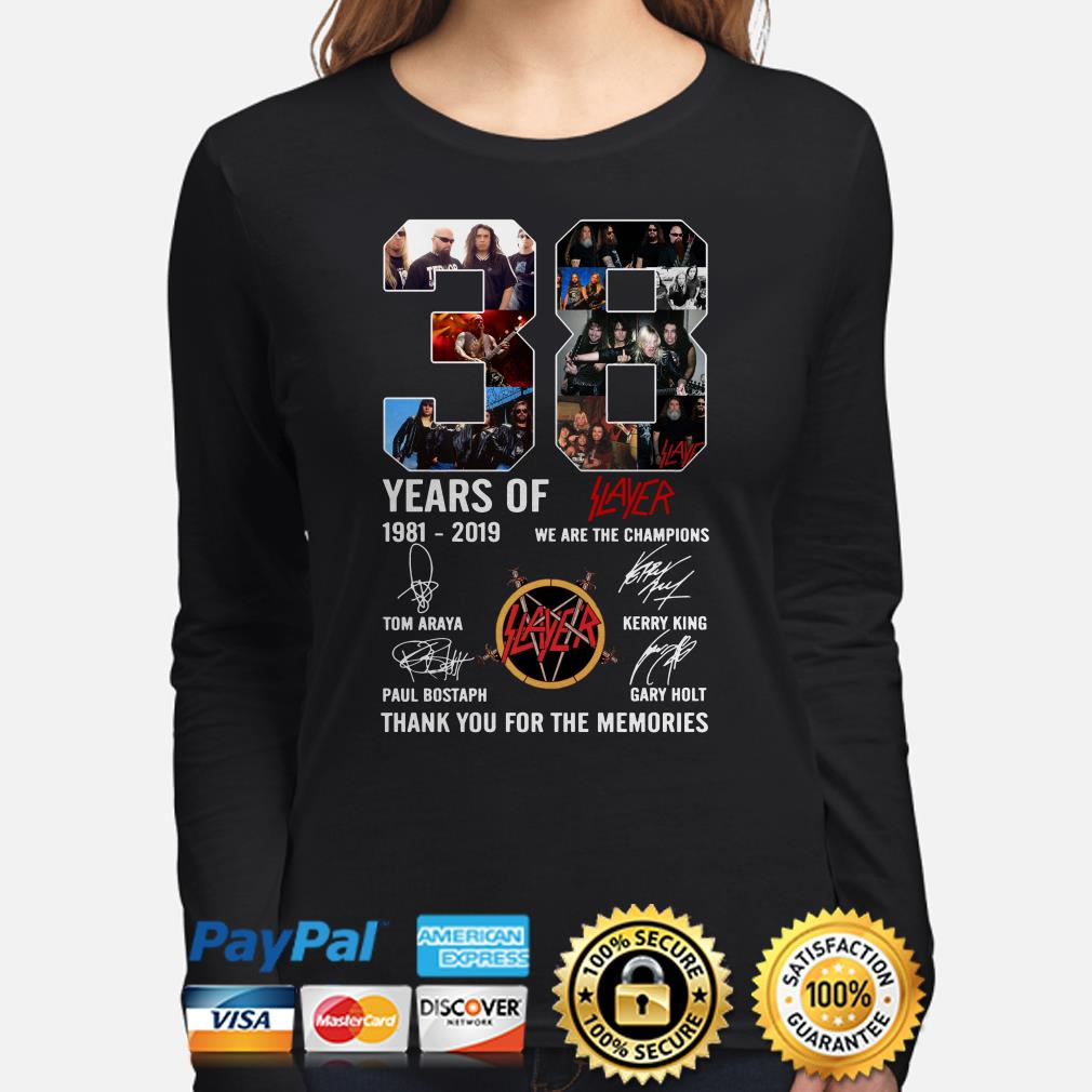38 years of Slayer 1981-2019 thank you for the memories long sleeve
