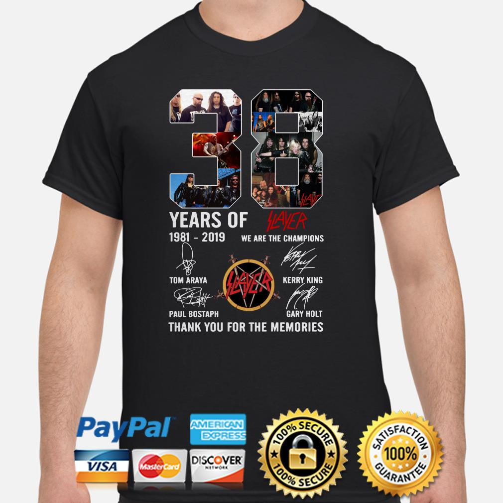 38 years of Slayer 1981-2019 thank you for the memories shirt