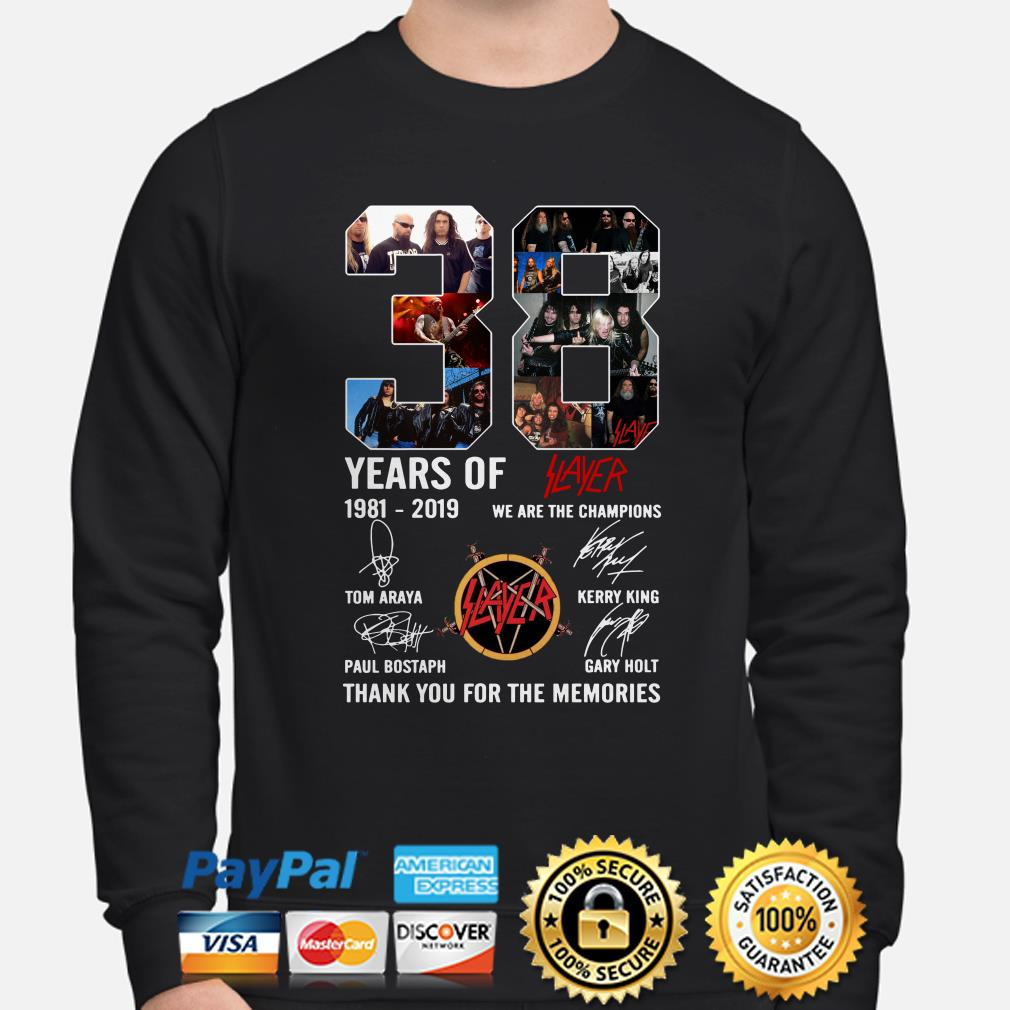 38 years of Slayer 1981-2019 thank you for the memories sweater