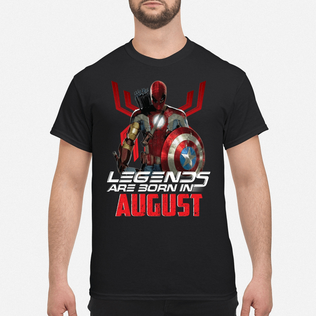 All Superheroes in one Spider Man legends are born in August shirt