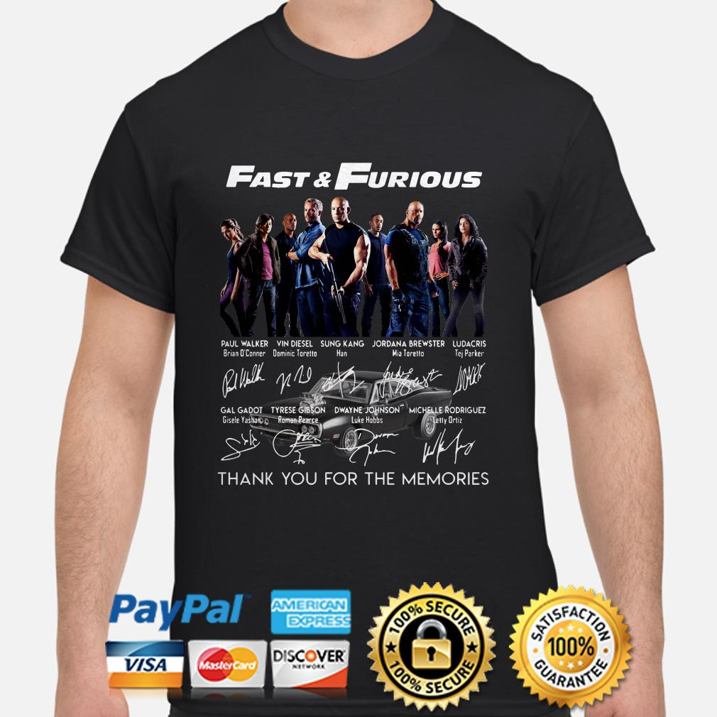 Fast and Furious Character signatures thank you for the memories shirt
