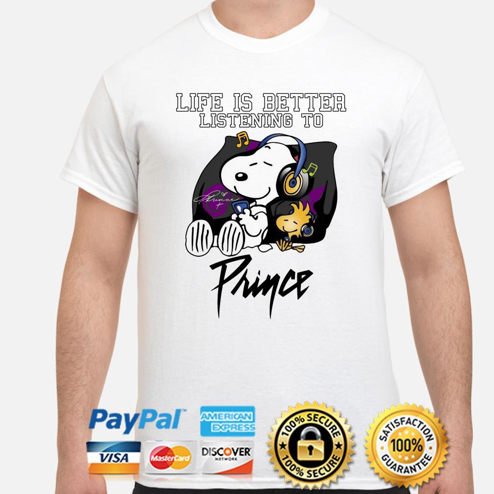 Snoopy and Woodstock life is better listening to Prince shirt
