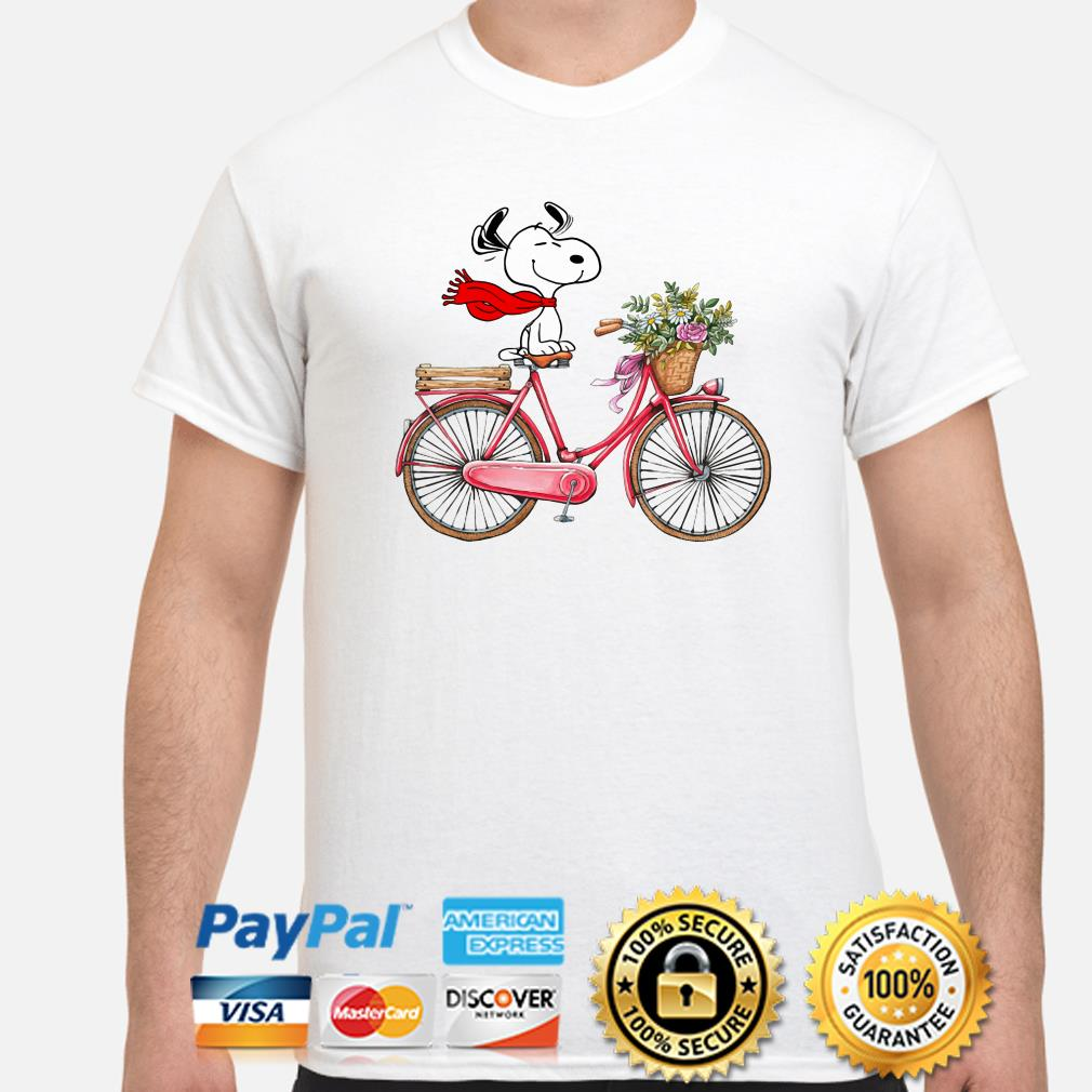 Snoopy riding bicycle shirt