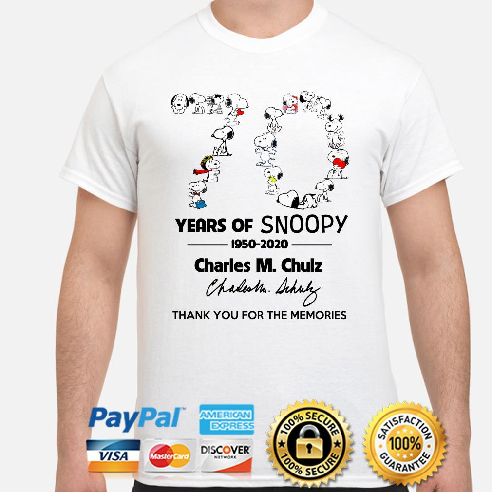 70 years of Snoopy Charles M.Chulz thank you for the memories shirt