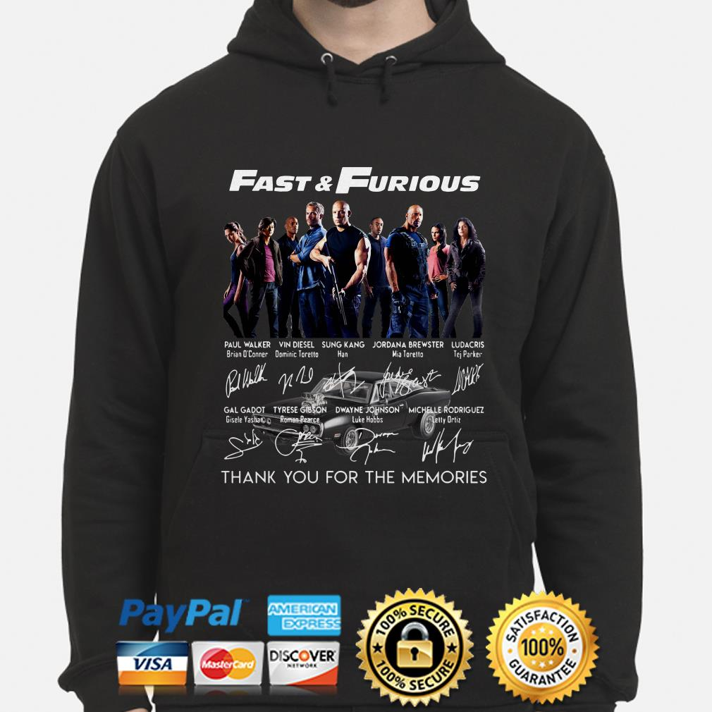 Fast and Furious Character signatures thank you for the memories hoodie