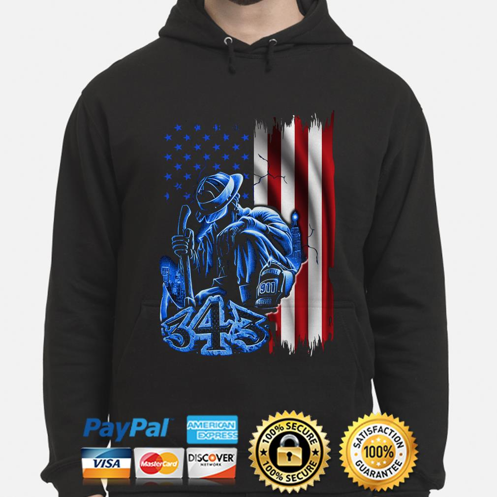 Firefighter sadness 343 American flag 9-11 hoodie