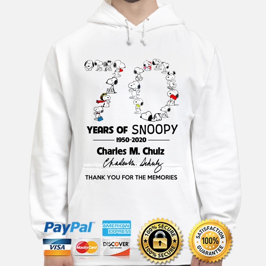 70 years of Snoopy Charles M.Chulz thank you for the memories hoodie