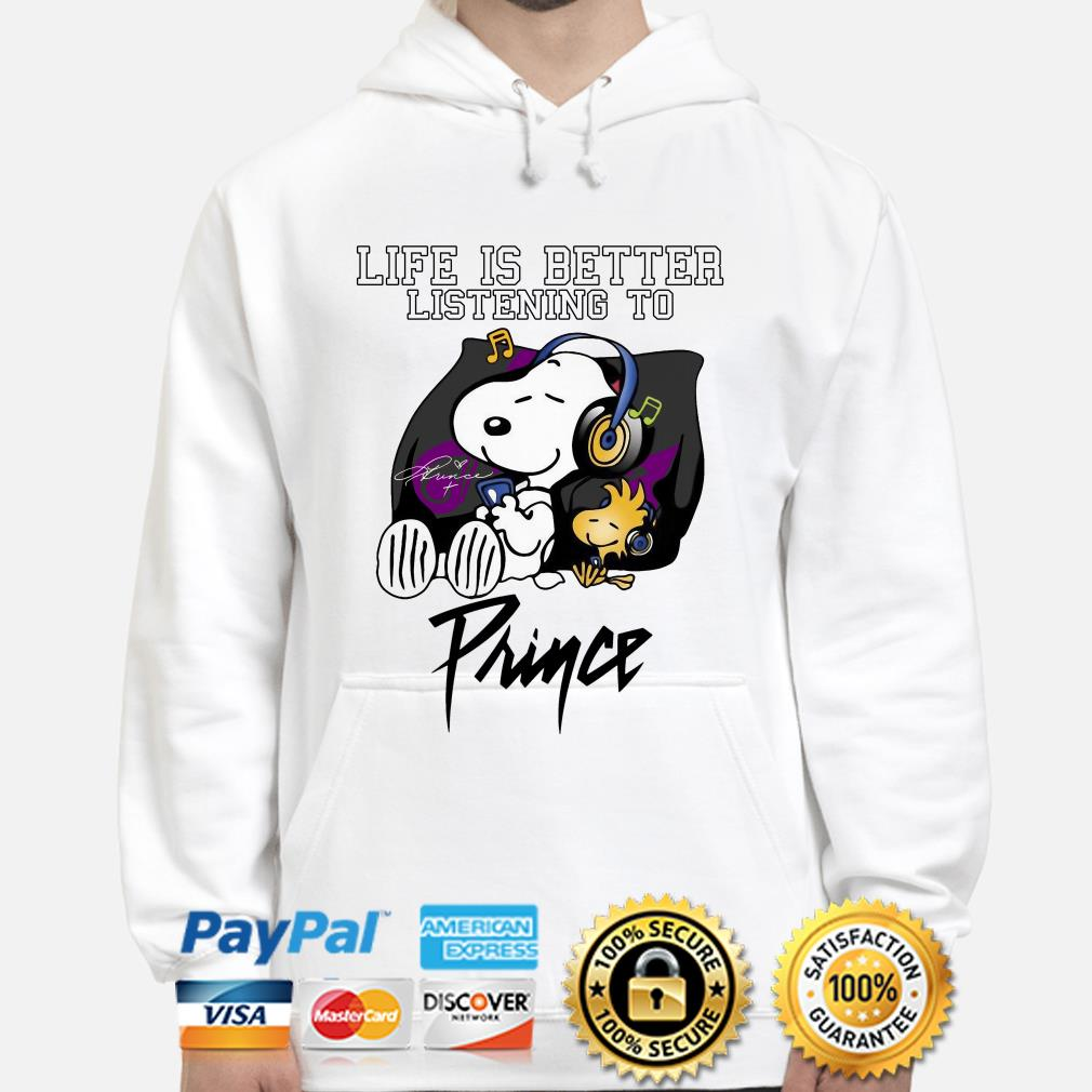 Snoopy and Woodstock life is better listening to Prince hoodie
