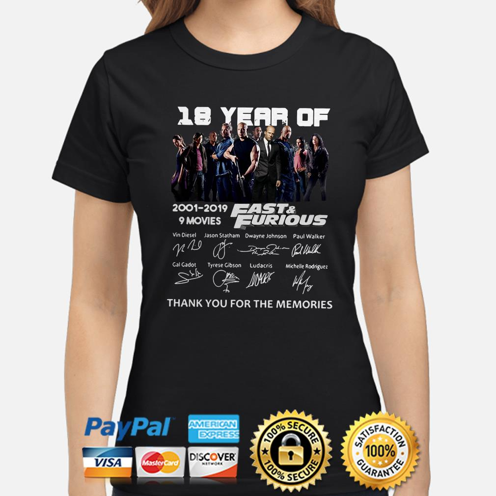 18 years of Fast and Furious thank you for the memories ladies shirt