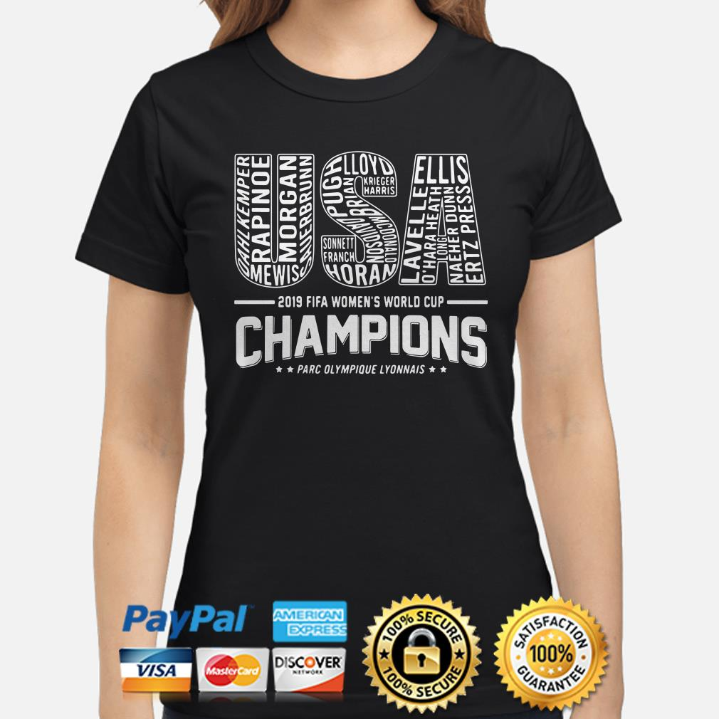USA 2019 Women's world cup Champions Players name ladies shirt