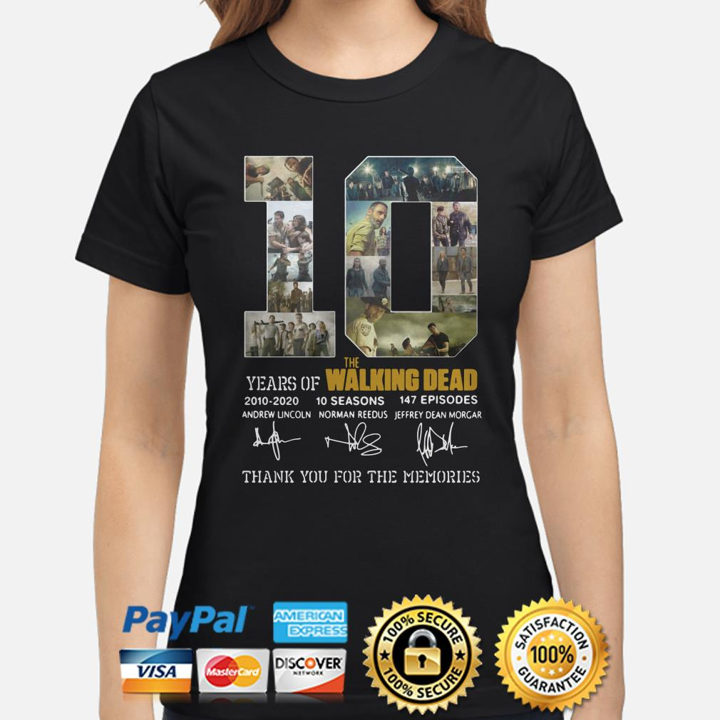 10 years of The Walking Dead thank you for the memories ladies shirt