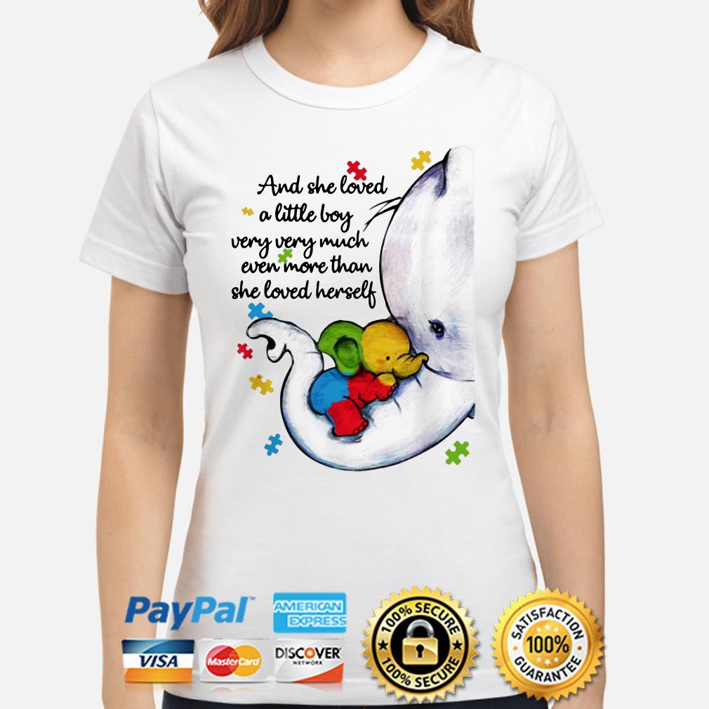 Autism Elephant mom and she loved a little boy very much more than she loved herself ladies shirt