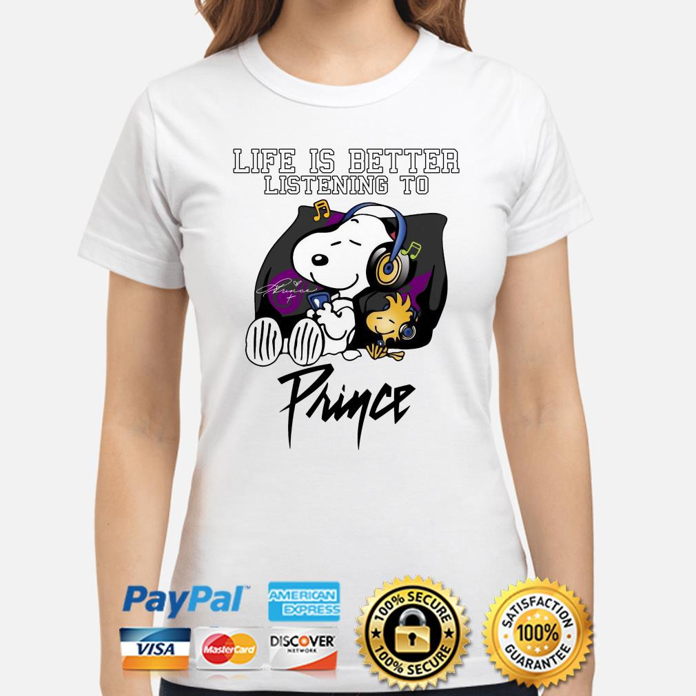 Snoopy and Woodstock life is better listening to Prince ladies shirt