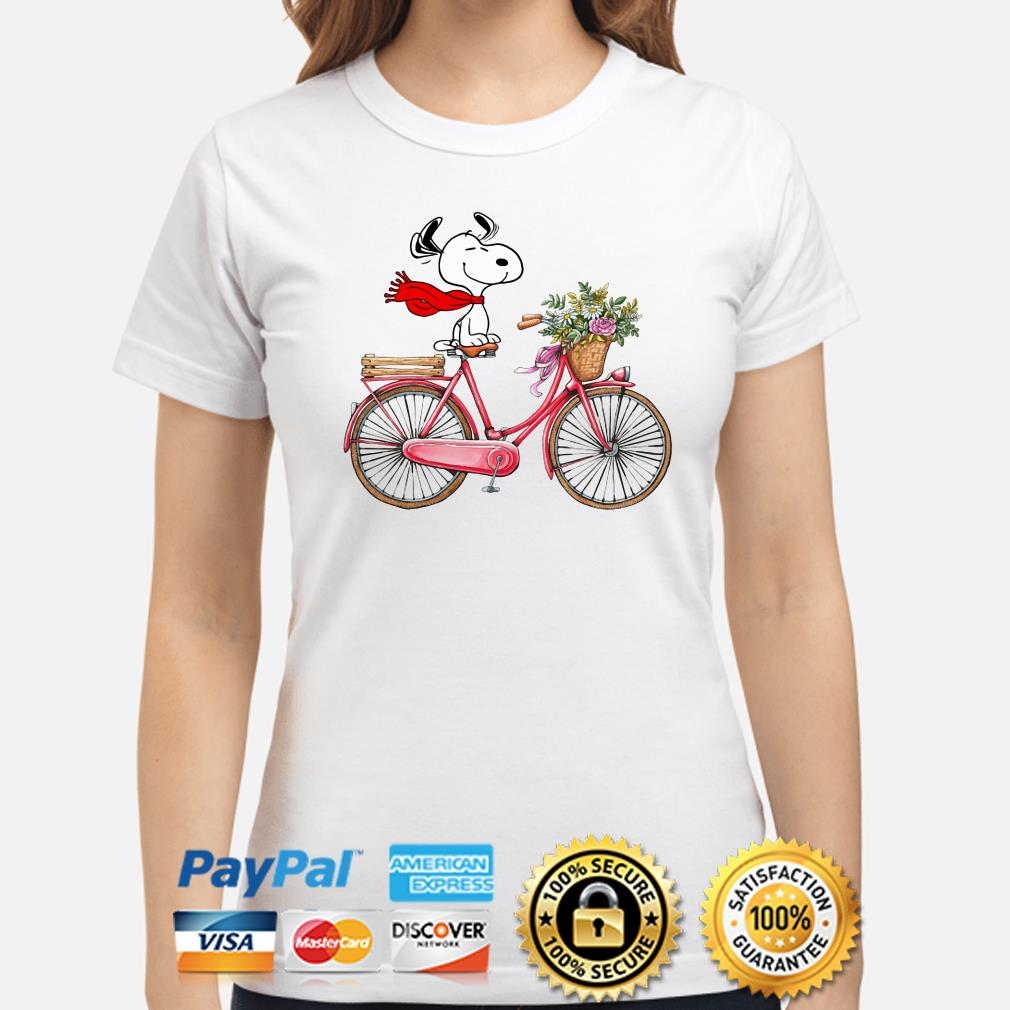 Snoopy riding bicycle ladies shirt