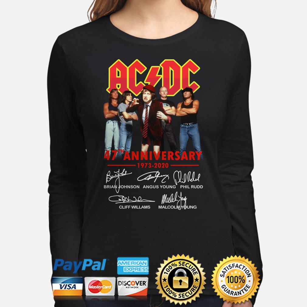 AC DC 47th Anniversary 1973 2020 signatures long sleeve