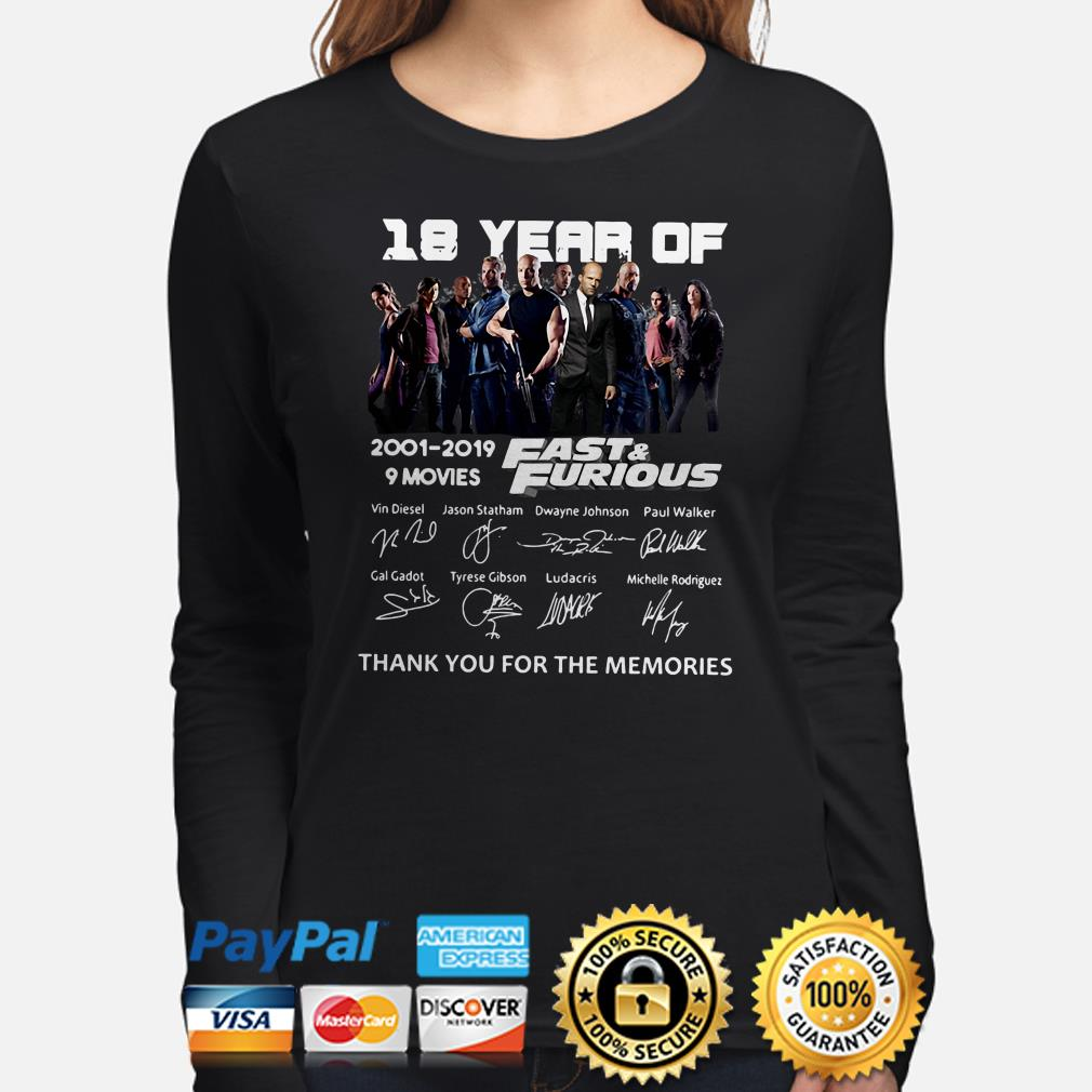 18 years of Fast and Furious thank you for the memories long sleeve