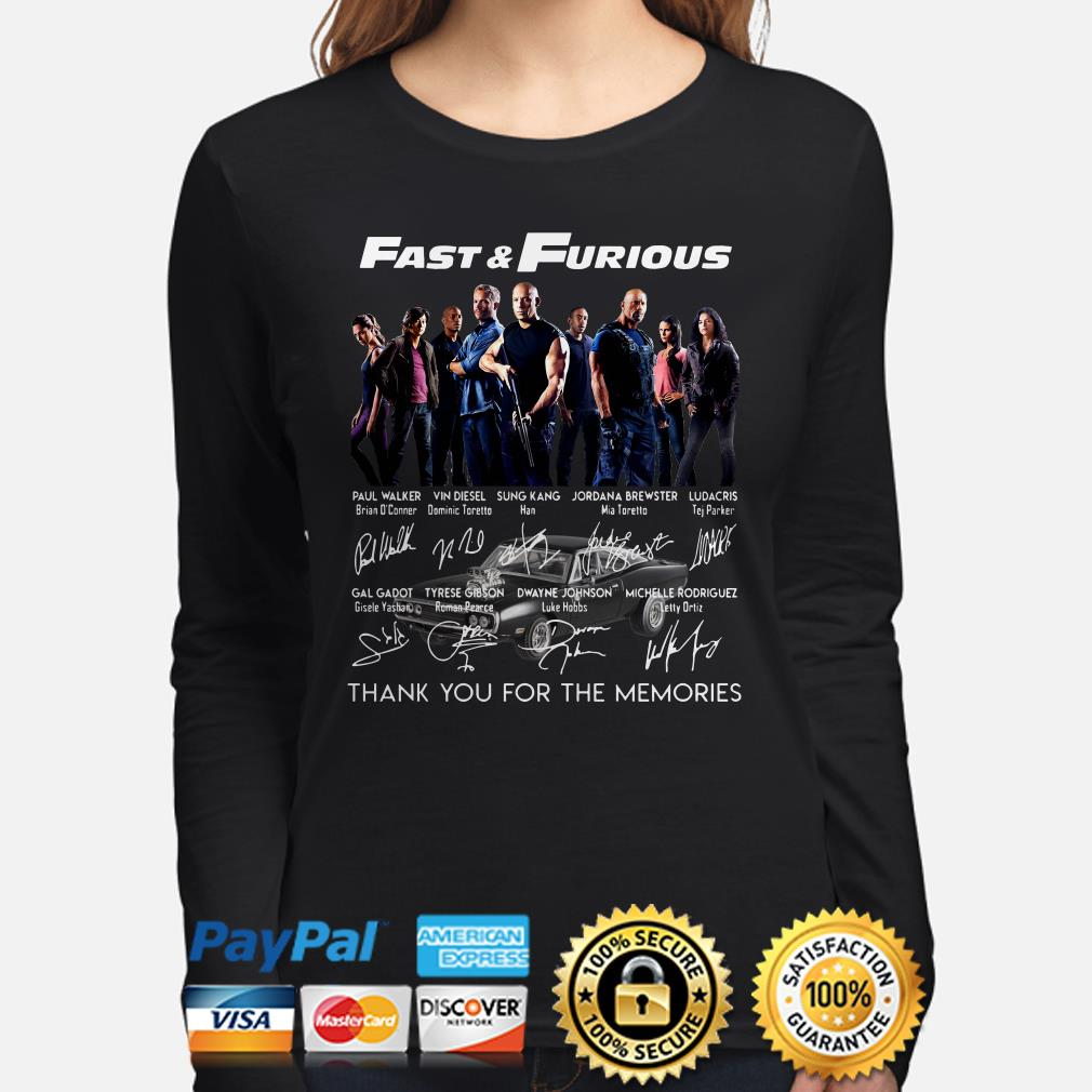 Fast and Furious Character signatures thank you for the memories long sleeve