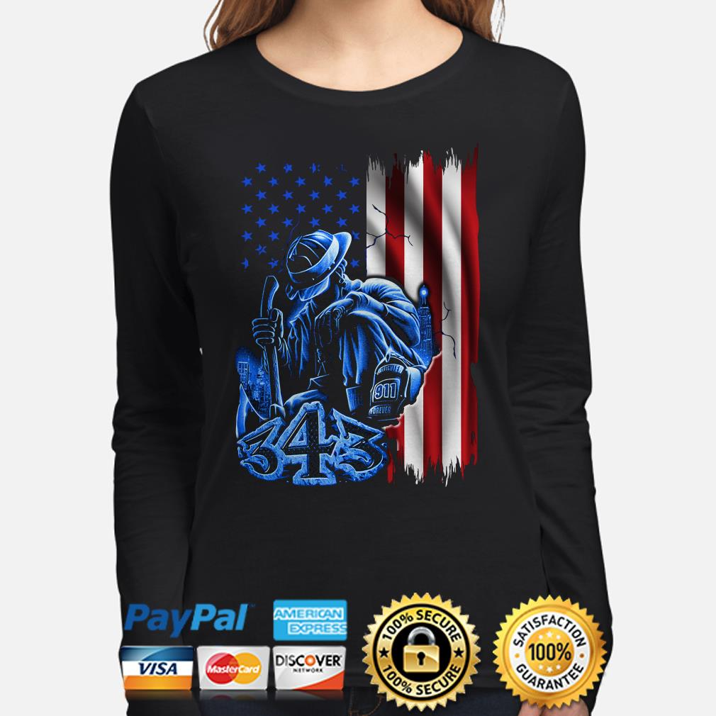 Firefighter sadness 343 American flag 9-11 long sleeve