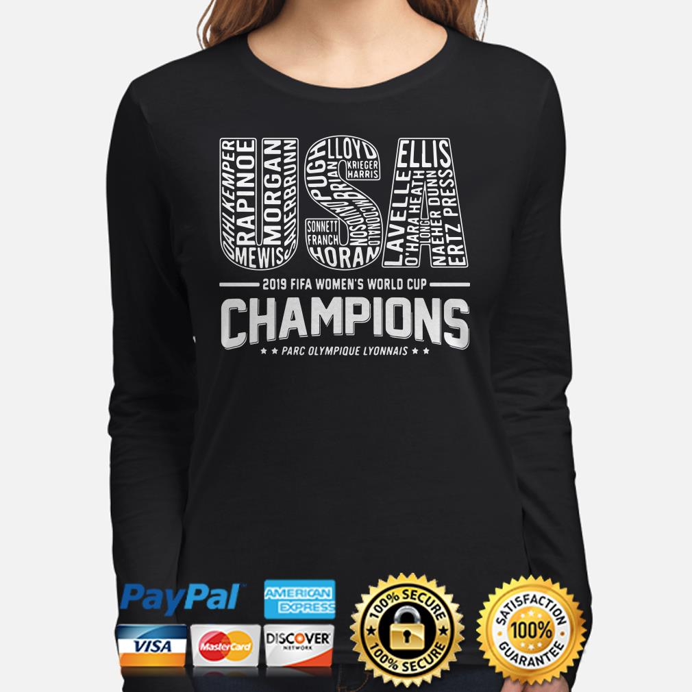 USA 2019 Women's world cup Champions Players name long sleeve