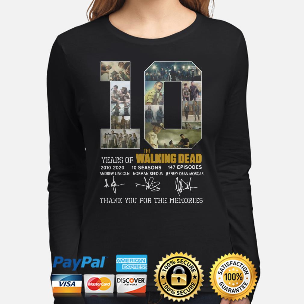 10 years of The Walking Dead thank you for the memories long sleeve