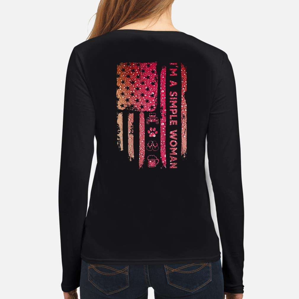 I'm a simple woman love jeep dog beer American flag long sleeve