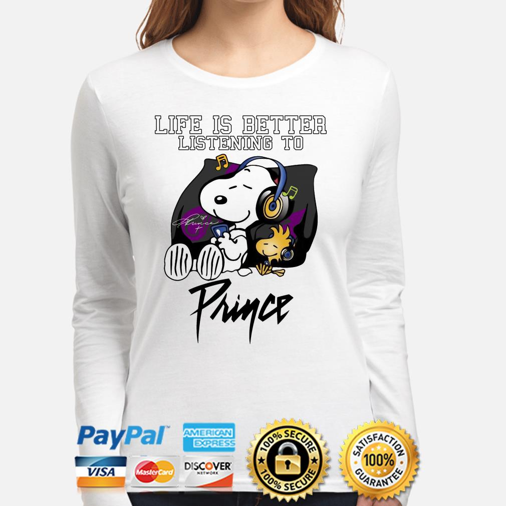 Snoopy and Woodstock life is better listening to Prince long sleeve