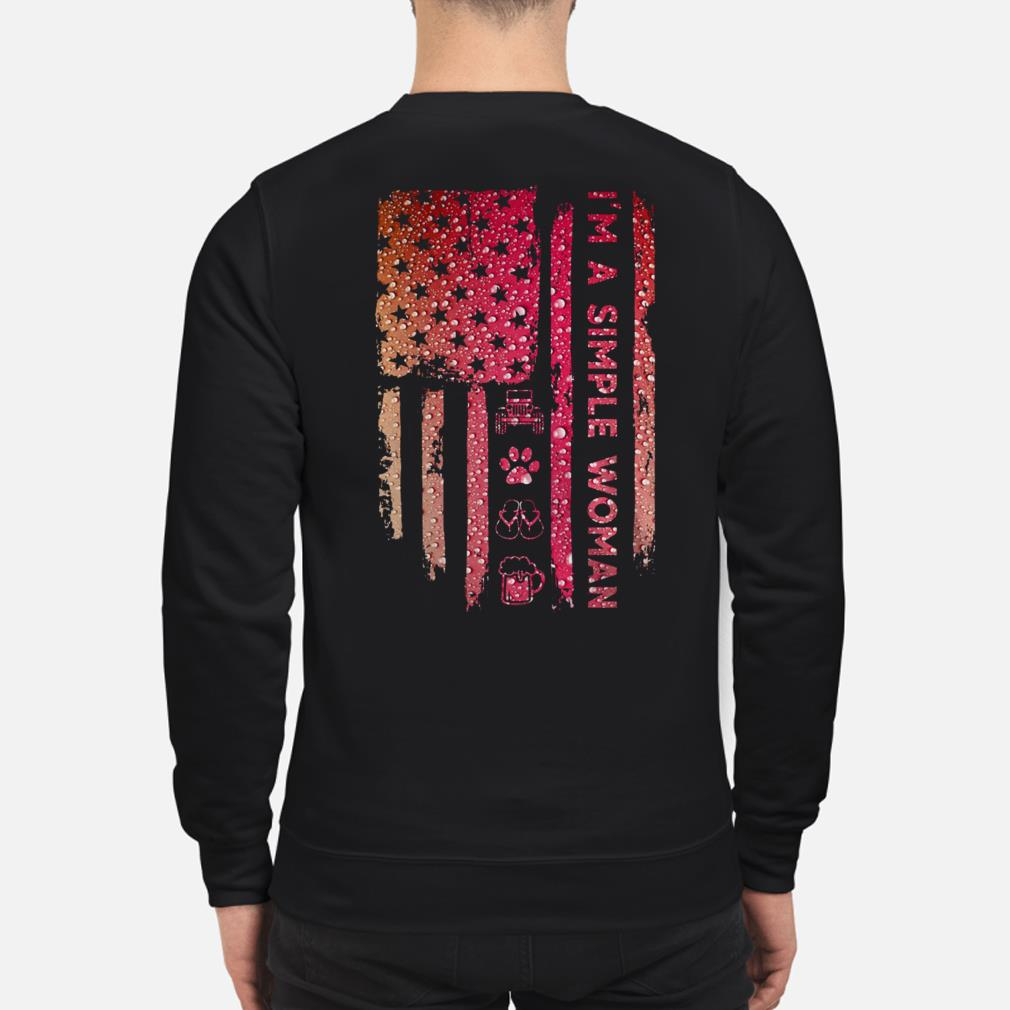 I'm a simple woman love jeep dog beer American flag sweater