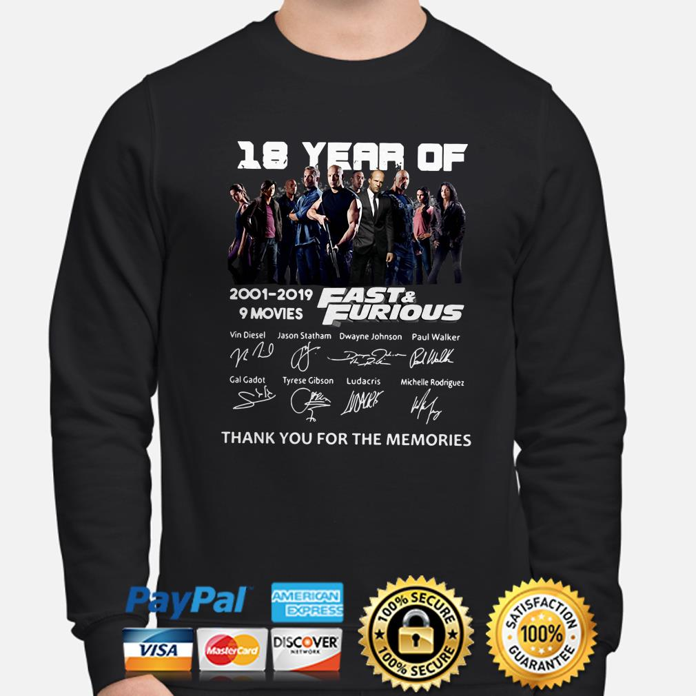 18 years of Fast and Furious thank you for the memories sweater