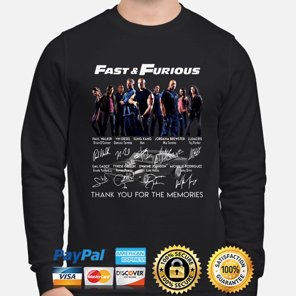 Fast and Furious Character signatures thank you for the memories sweater
