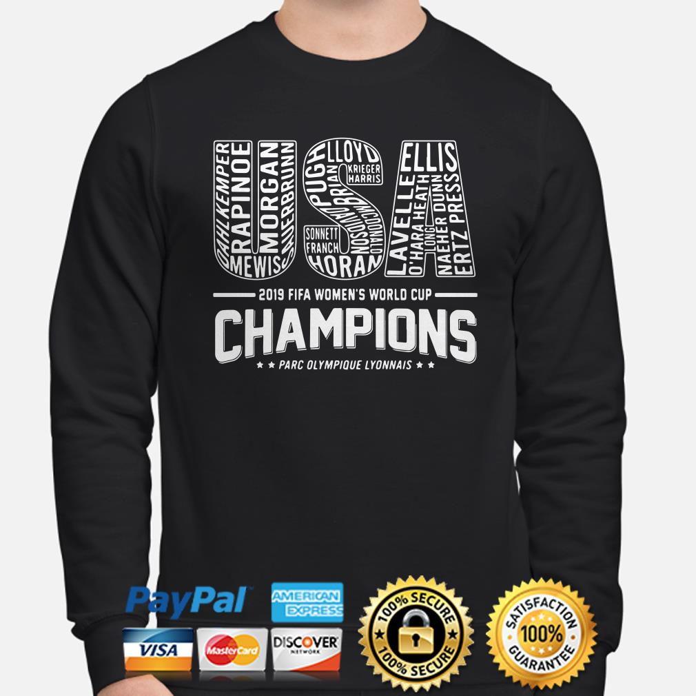 USA 2019 Women's world cup Champions Players name sweater
