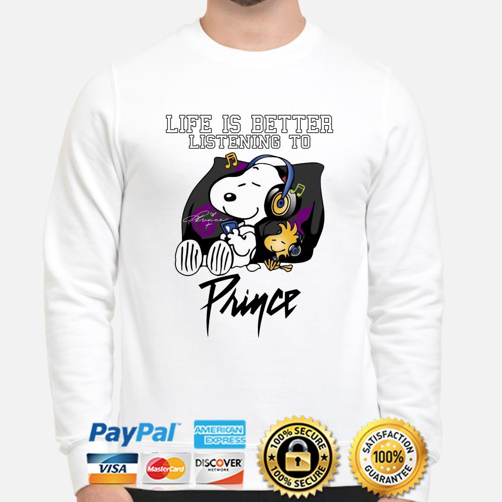 Snoopy and Woodstock life is better listening to Prince sweater