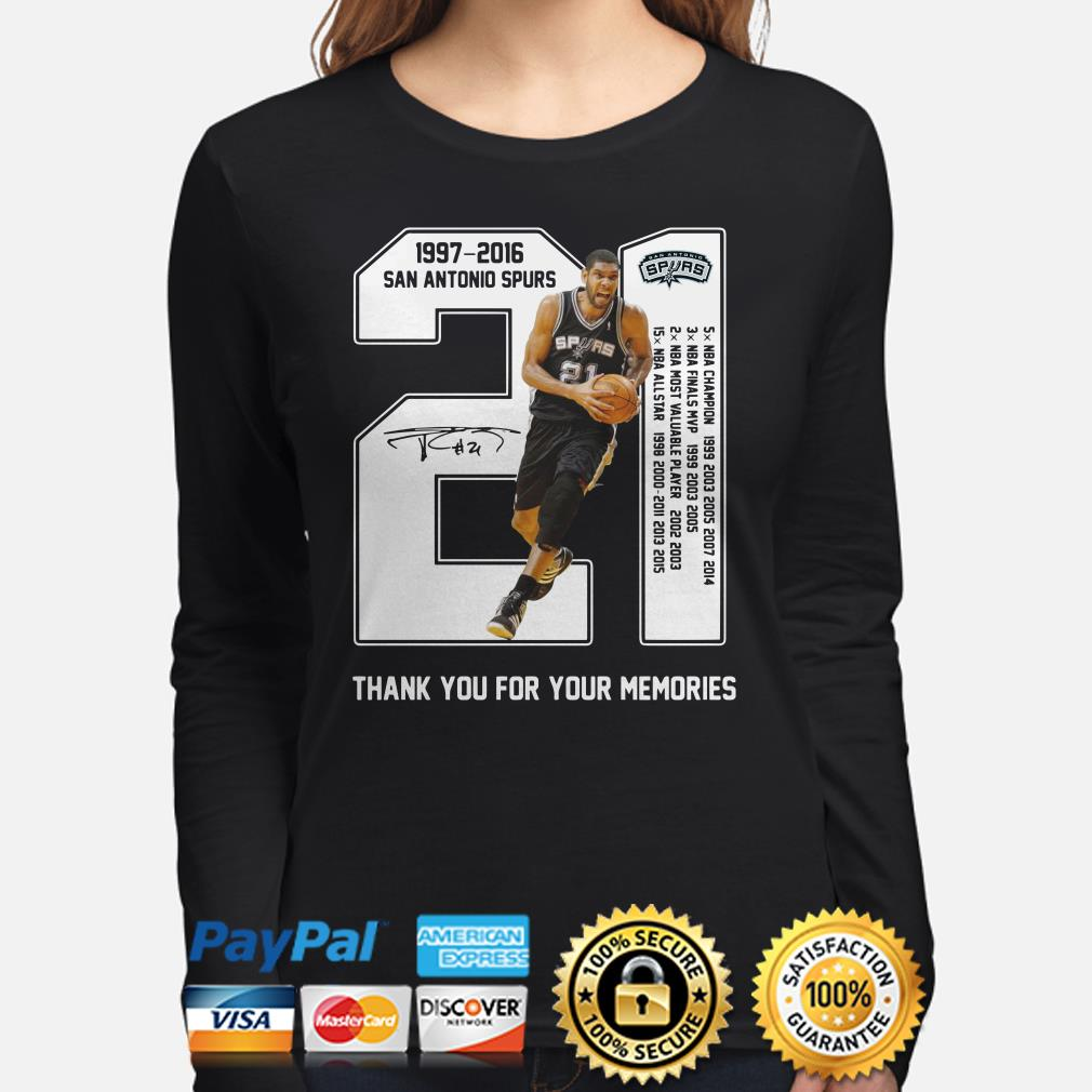 Tim Duncan San Antonio Spurs 21 1977-2016 thank you for the memories long sleeve