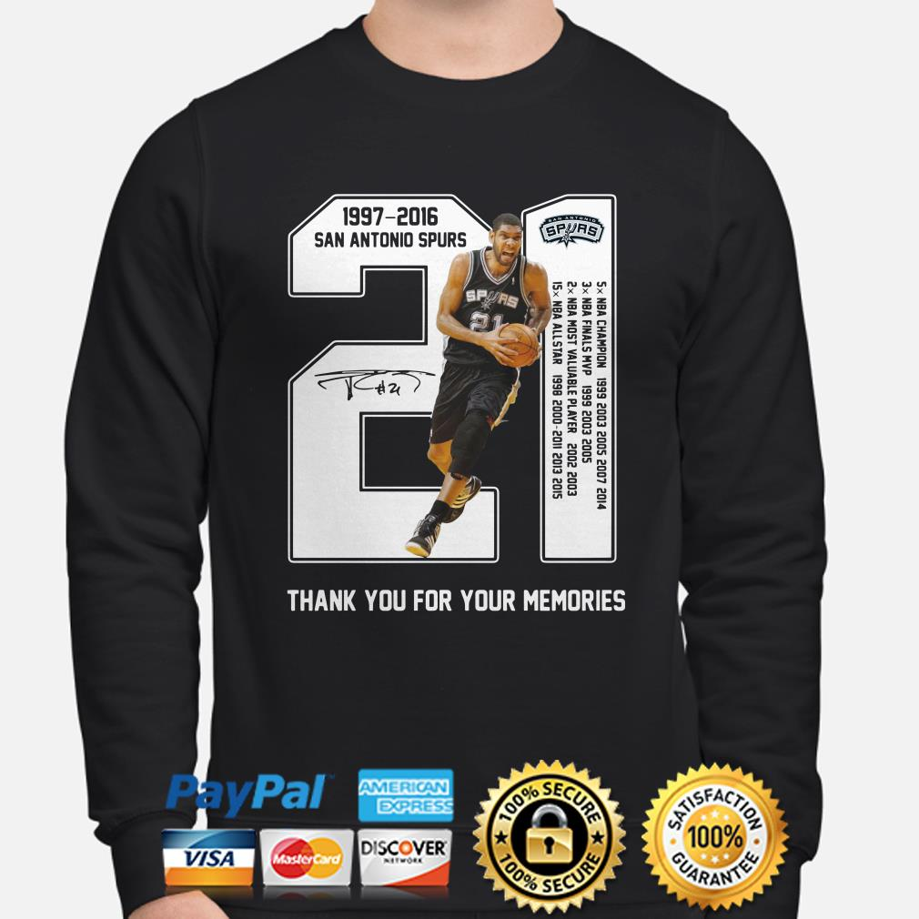 Tim Duncan San Antonio Spurs 21 1977-2016 thank you for the memories sweater