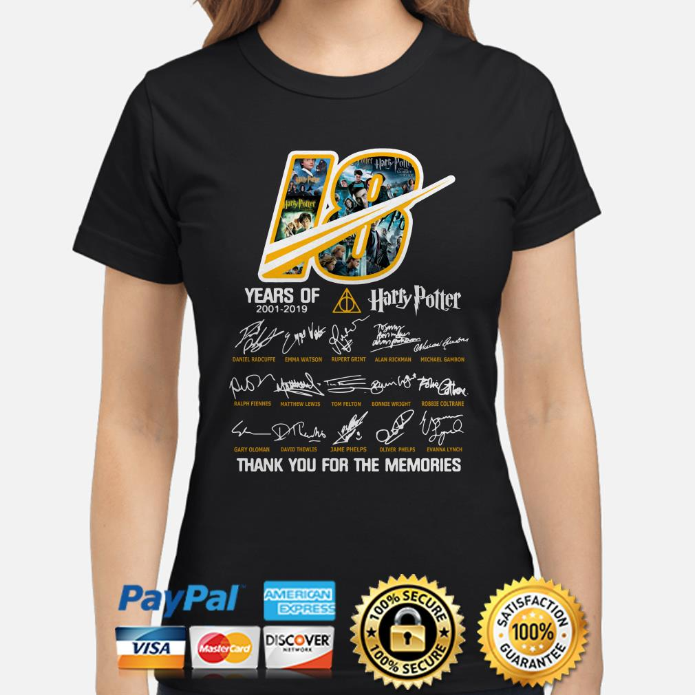 18 years of Harry Potter 2001 2019 signatures thank you for the memories ladies shirt
