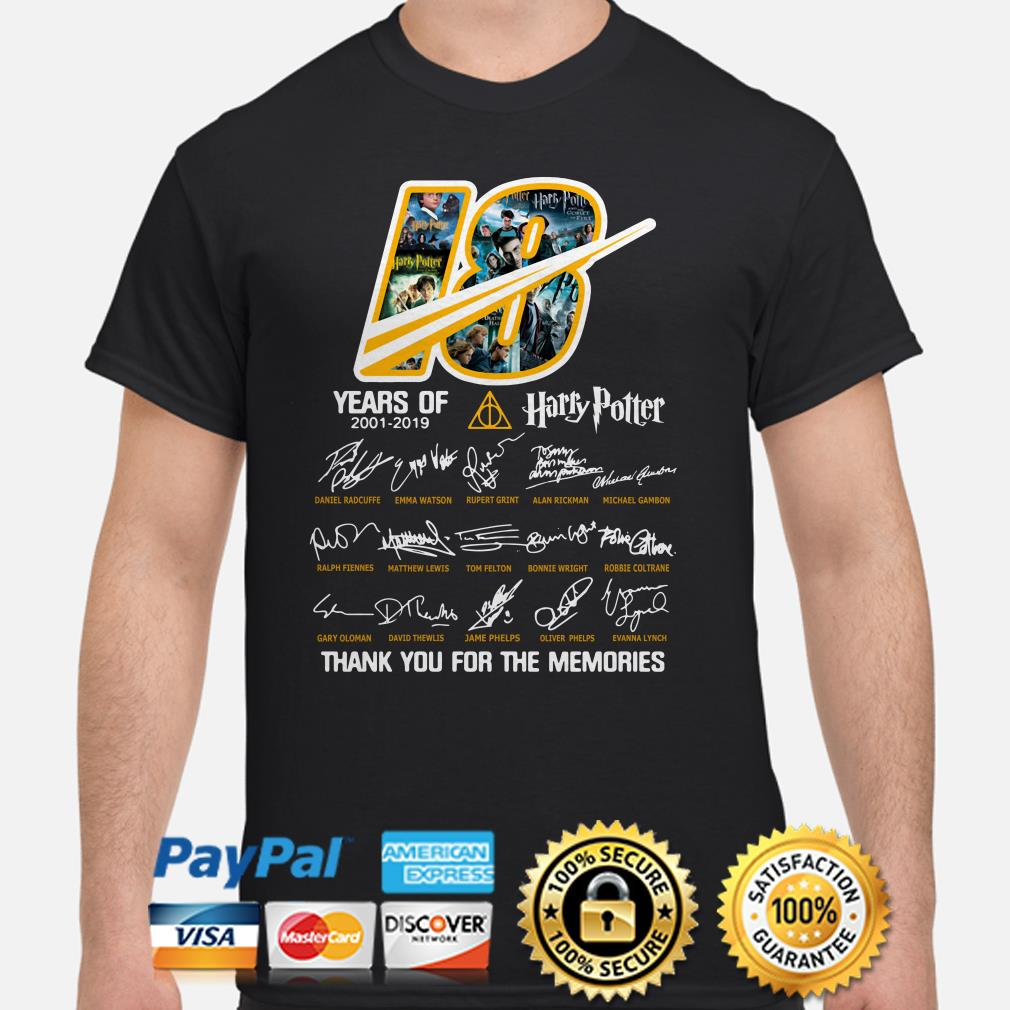 18 years of Harry Potter 2001 2019 signatures thank you for the memories shirt