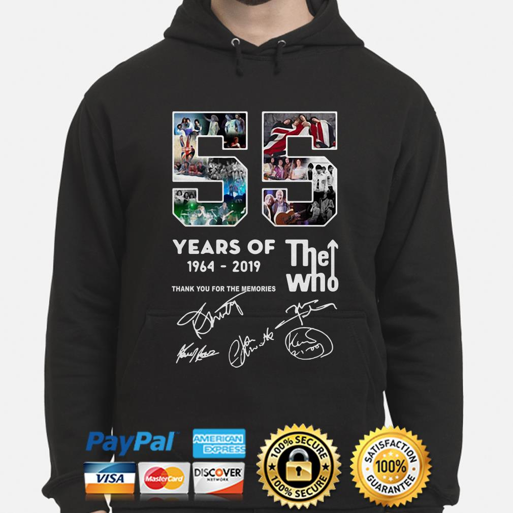 55 years of The who 1964 2019 thank you for the memories hoodie