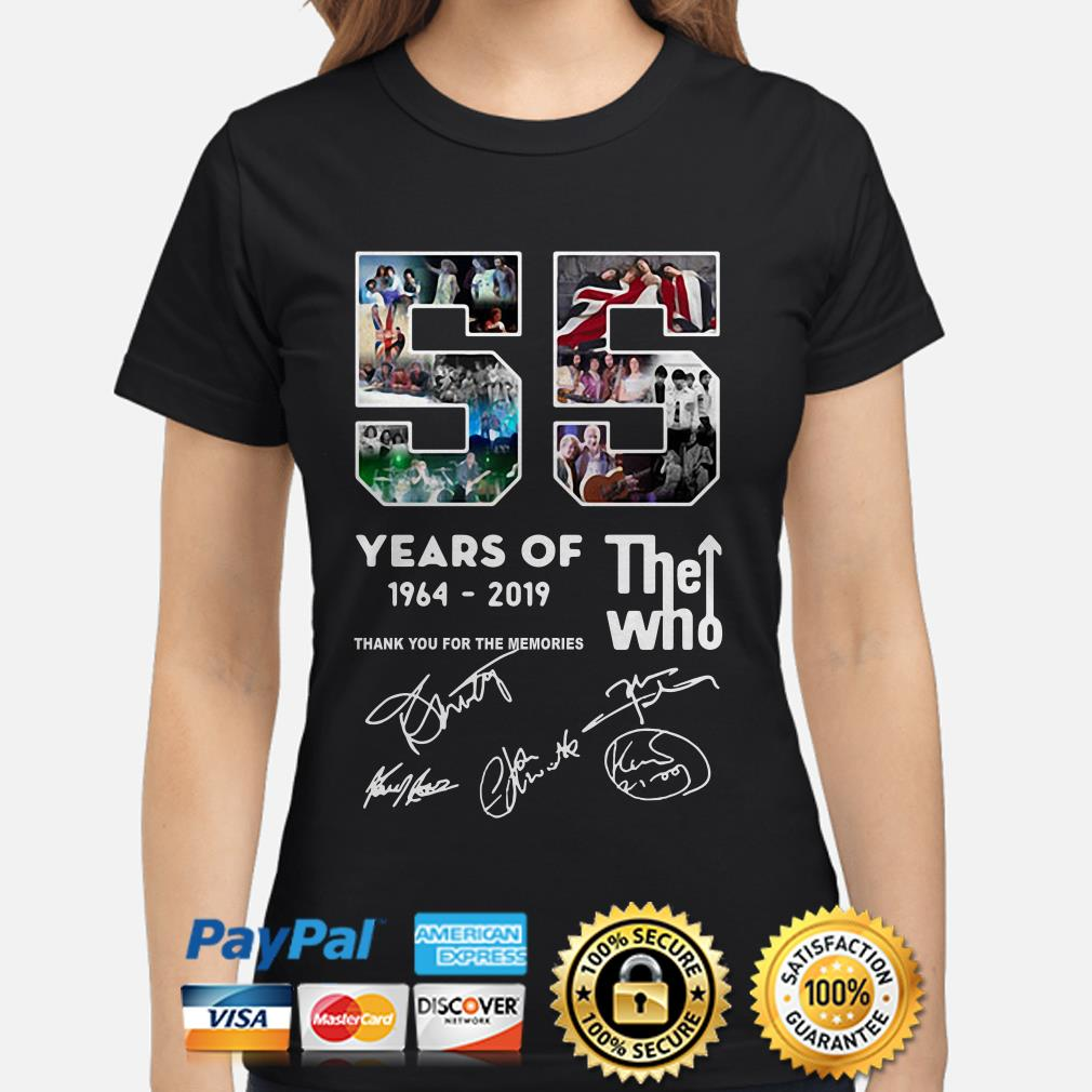 55 years of The who 1964 2019 thank you for the memories ladies shirt