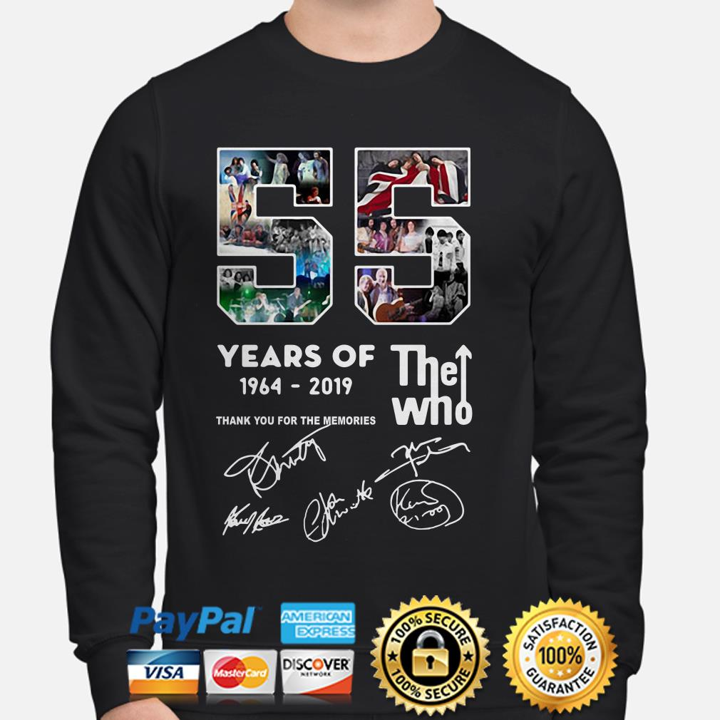 55 years of The who 1964 2019 thank you for the memories sweater