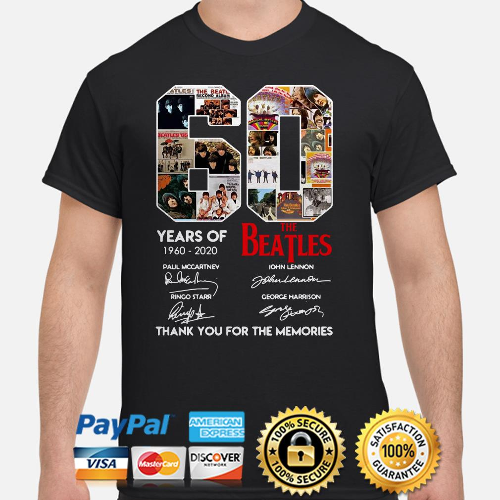 60 years of The Beatles thank you for the memories shirt