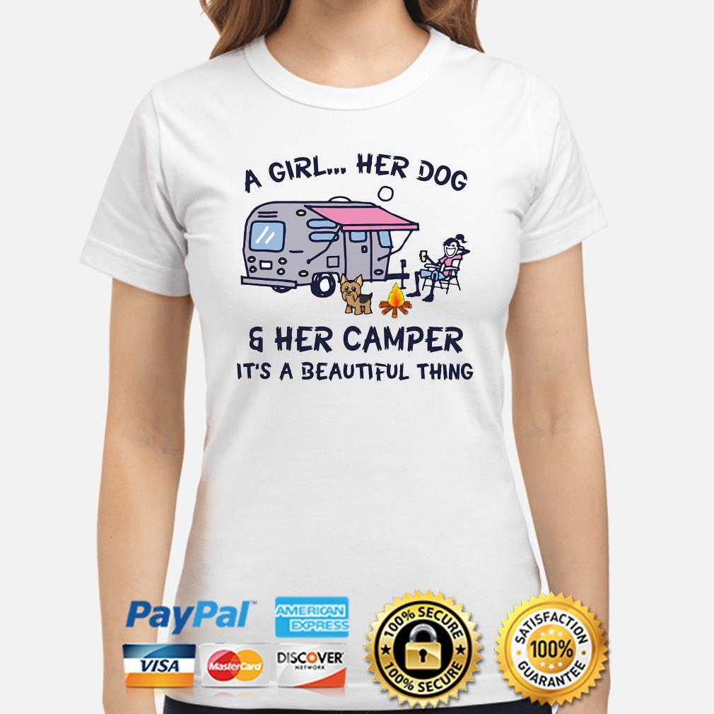 A girl her dog and her camper it's a beautiful thing ladies shirt