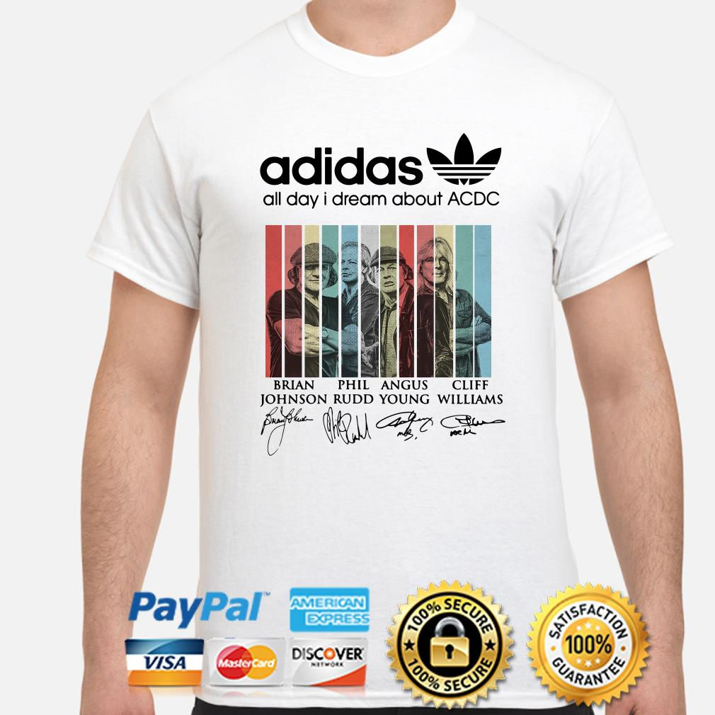 Adidas all day I dream about ACDC signatures shirt