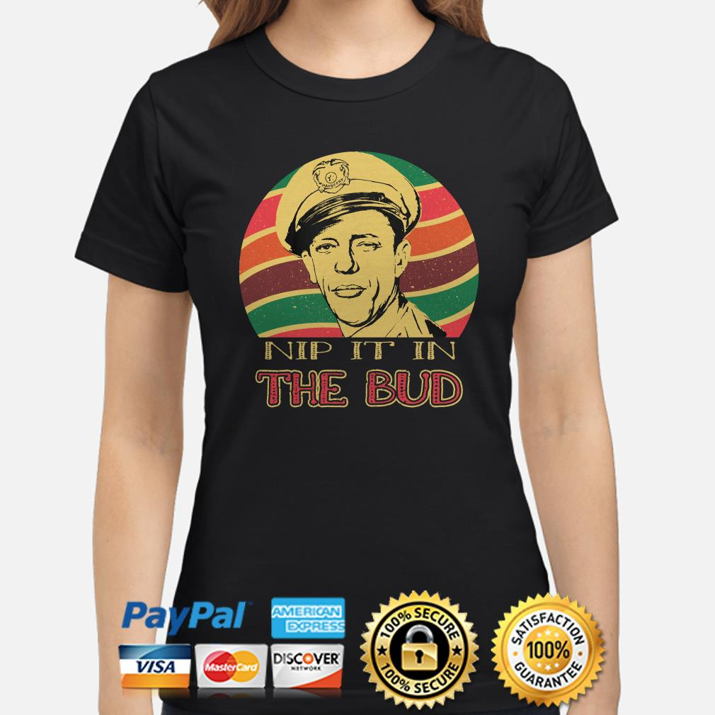 Andy Griffith Nip It In The Bud Sunset ladies shirt