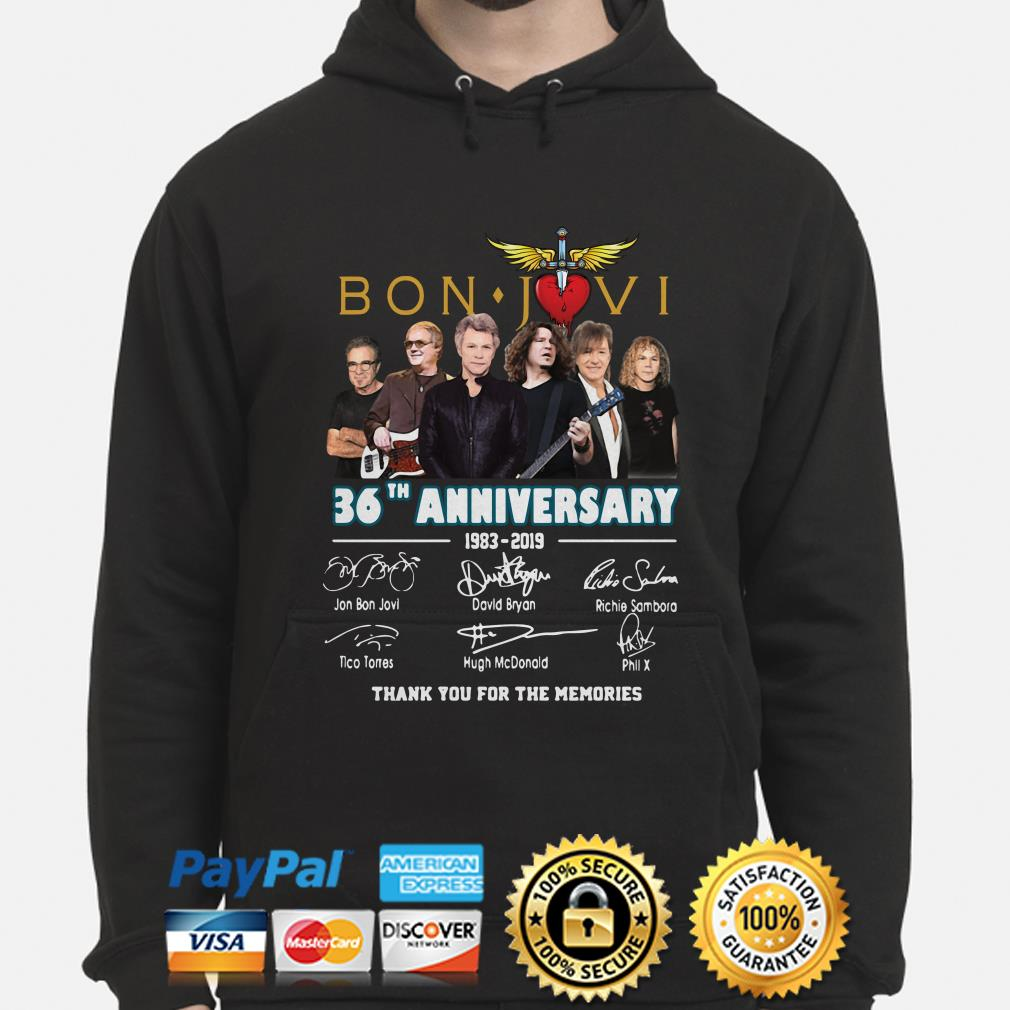 Bon Jovi 26th Anniversary signatures thank you for the memories hoodie